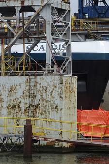 Binnenvaarttanker Scaldis nog in dok