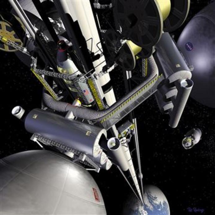 Met speciale transportcapsules kan naar langs de ketting naar de ruimte worden gereisd
