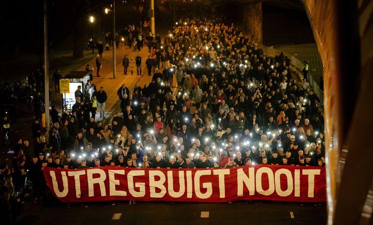 Stille tocht ter herdenking van de slachtoffers van de schietpartij in Utrecht. Beeld ANP