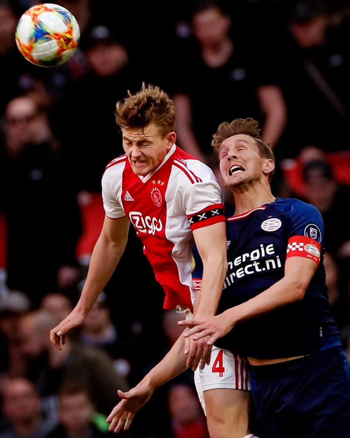 Matthijs de Ligt klopt Luuk de Jong in de lucht tijdens Ajax - PSV.
