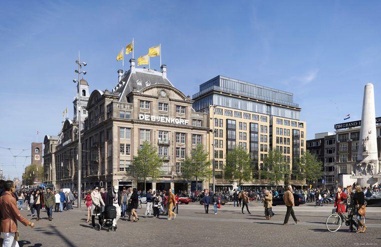 Eind dit jaar begint de verbouwing van het leegstaande hoofdkantoor van Verwelius Bouw, pal naast de Bijenkorf. Beeld Verwelius Bouw