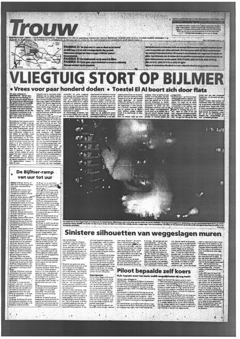 De voorpagina van Trouw van 5 oktober 1992 Beeld Trouw