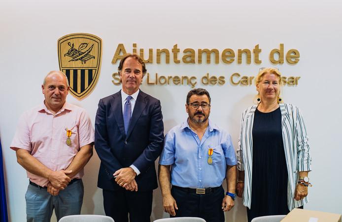Miquel Montoro Mascaro, ambassadeur Bartjan Wegter, Miquel Galmes Jaume en de Nederlandse consul op de Balearen, Ingrid van de Reijt.
