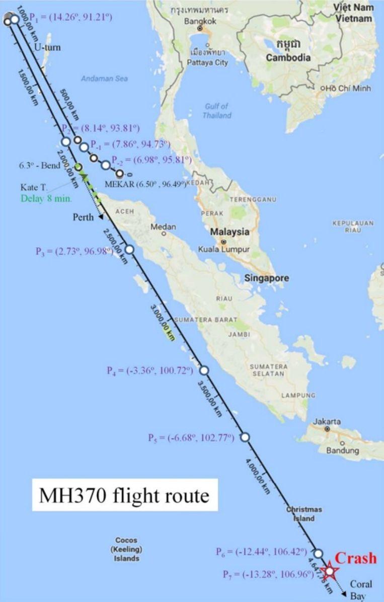 Het traject dat MH370 volgde en de plaats waar het toestel crashte, volgens Martin Kristensen.