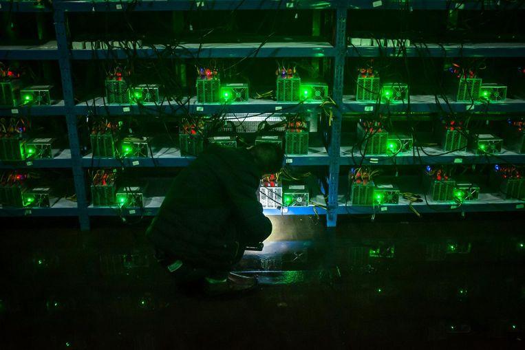 Een medewerker van een bitcoinfabriek in de midden-Chinese provincie Sichuan controleert tijdens zijn avonddienst een computer. Beeld epa