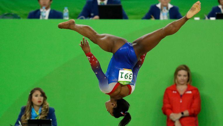 Simone Biles in Rio tijdens de Olympische Spelen. Beeld ap