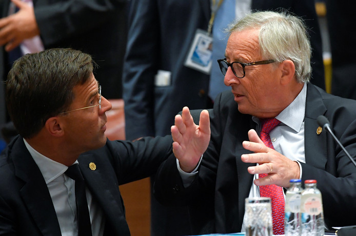 Mark Rutte en Jean-Claude Juncker