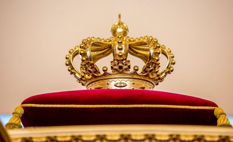 De kroon op het dak, op een rood kussen van zijden velours, en de wapens op de portieren maken duidelijk dat dit het rijtuig van het staatshoofd is Beeld Raymond Rutting