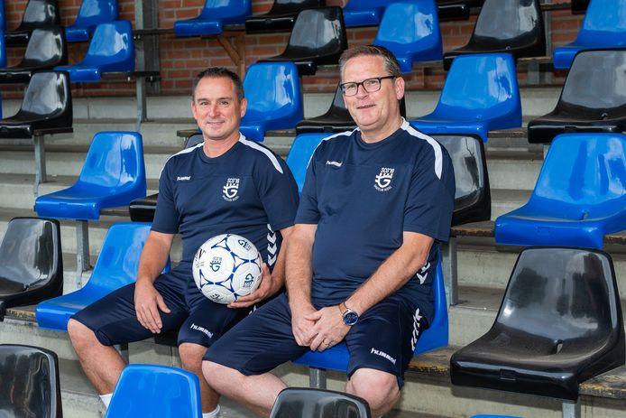 Trainers Jurgen Gerrits(L) en Aschwin van Kessel (R) van SCG'18