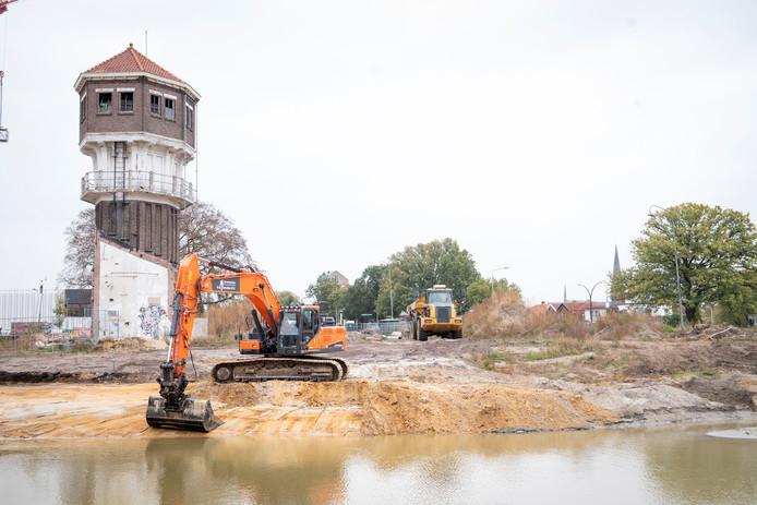 Werkzaamheden op het Indiëterrein, nabij de watertoren.