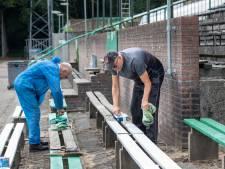 Make-over voor kassahuisjes en stadionmuren De Wageningse Berg: 'Nog nooit zo mooi geweest'