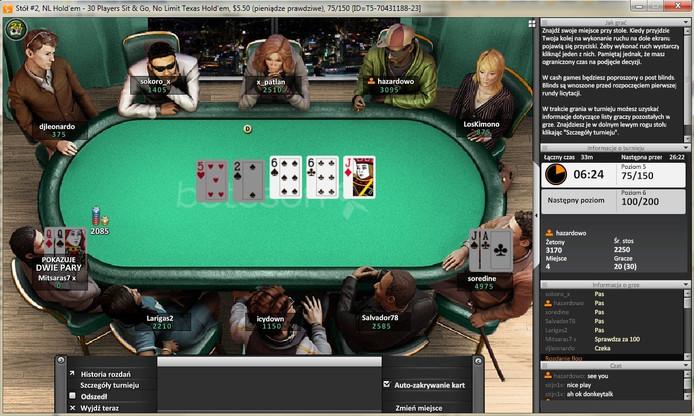 Een online pokertafel op één van de websites van Betsson