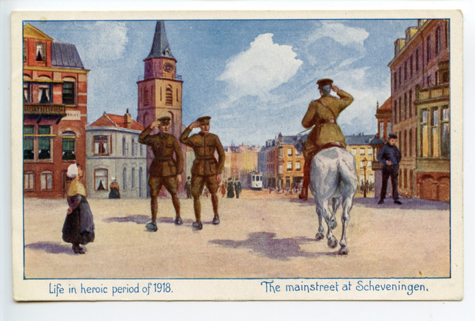 Op ansichtkaarten staan Britse militairen in de Scheveningse Keizerstraat. Het gaf een vertekend beeld van de werkelijkheid.