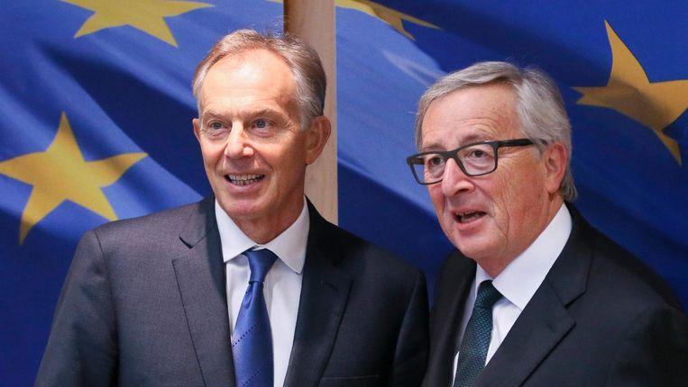 Tony Blair en Jean-Claude Juncker. Beeld epa