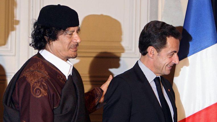 De Franse ex-president Nicolas Sarkozy zou geld hebben aangenomen van de toenmalige Libische dictator Kadhafi. Beeld afp