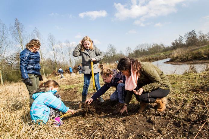 Archieffoto van de Boomfeestdag 2017 in Eindhoven, toen leerlingen van De Klimboom bomen en struiken plantten in Genneper Parken.