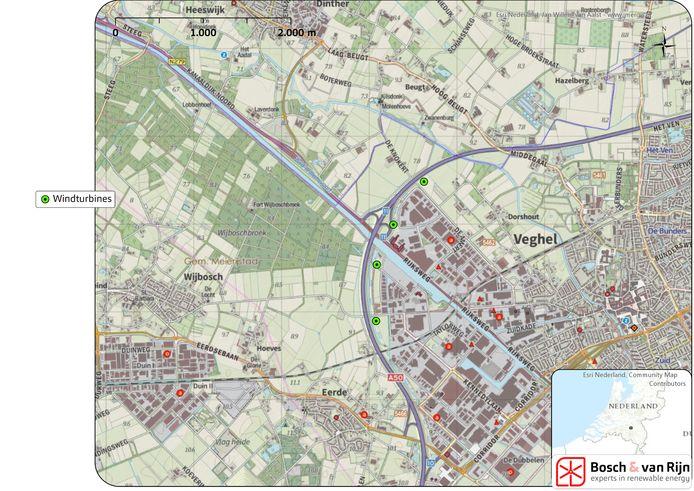 De beoogde locaties (groene stipjes) van de windmolens bij de Amert en de Dubbelen in Veghel.