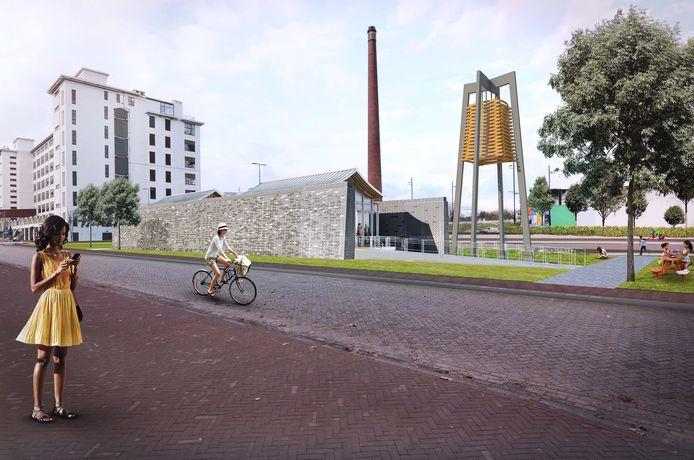 Impressie van het Chinees Paviljoen dat tussen de Torenallee en Philitelaan op Strijp-S in Eindhoven gebouwd wordt begin 2021.