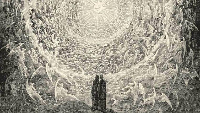 Fragment uit 'Rosa Celeste: Dante en Beatrijs aanschouwen de hoogste hemel' van Gustave Doré. Beeld Wikimedia