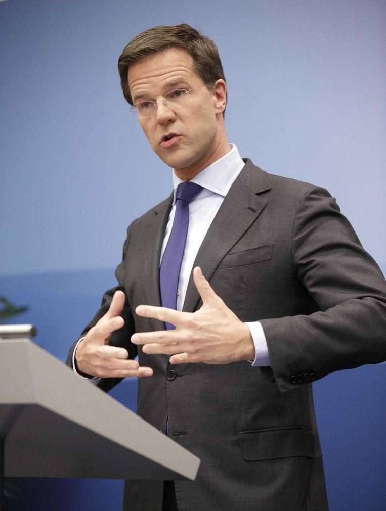 Premier Rutte in Nieuwspoort. Beeld ANP