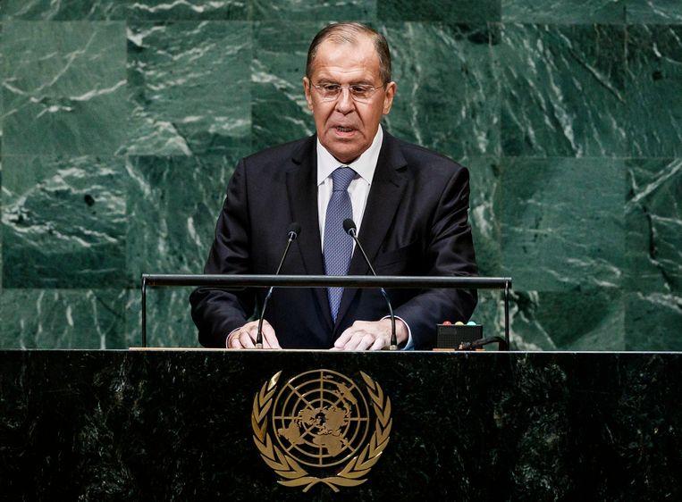 Sergej Lavrov spreekt de Algemene Vergadering van de Verenigde Naties toe.  Beeld EPA