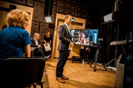 Directeur Bert Frölich van Kunstwerk! tijdens de online bijeenkomst vandaag met Máxima.