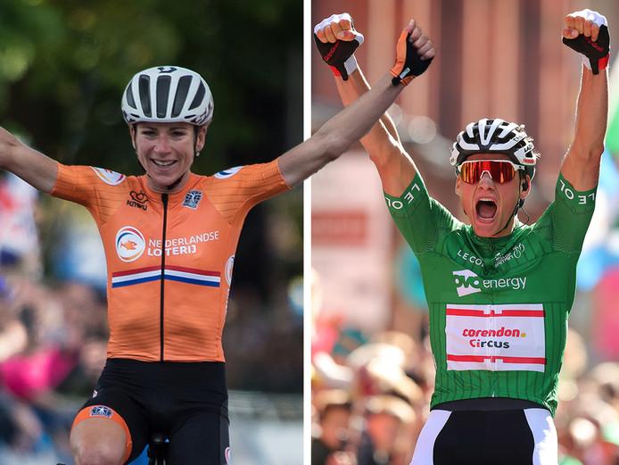 Annemiek van Vleuten (links) en Mathieu van de Poel maken kans op de prestigieuze wielerprijs.