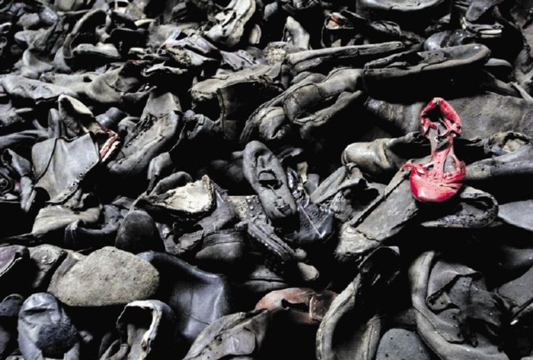 De schoenen van de gevangenen in het museum van het vernietigingskamp Auschwitz. (FOTO ANP) Beeld