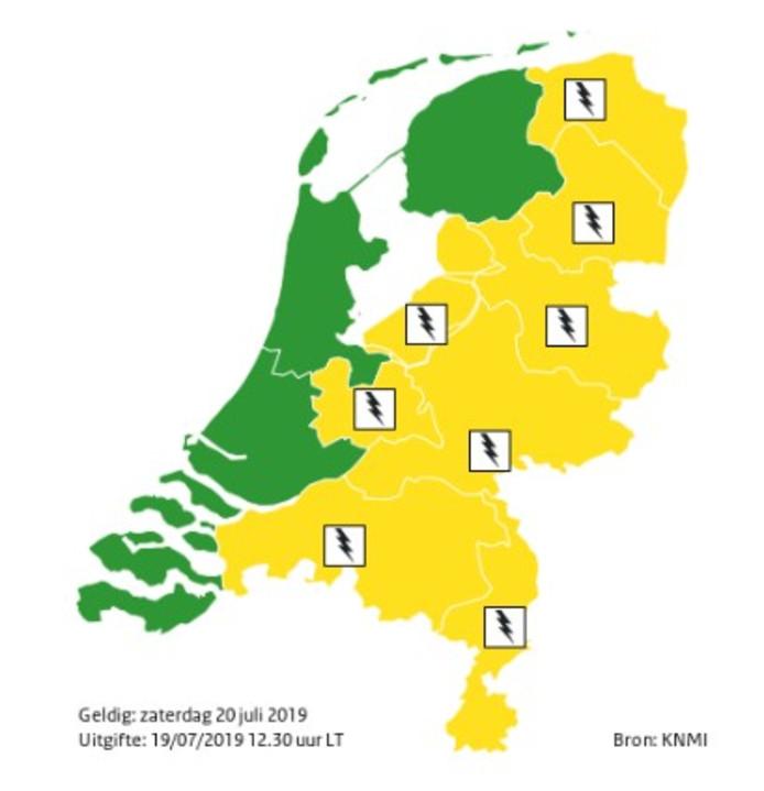 Code geel in een groot deel van Nederland op zaterdagmiddag.