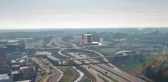 Een artist impression van het nieuwe hotel (midden) in het landschap tussen Waalwijk en Sprang-Capelle.