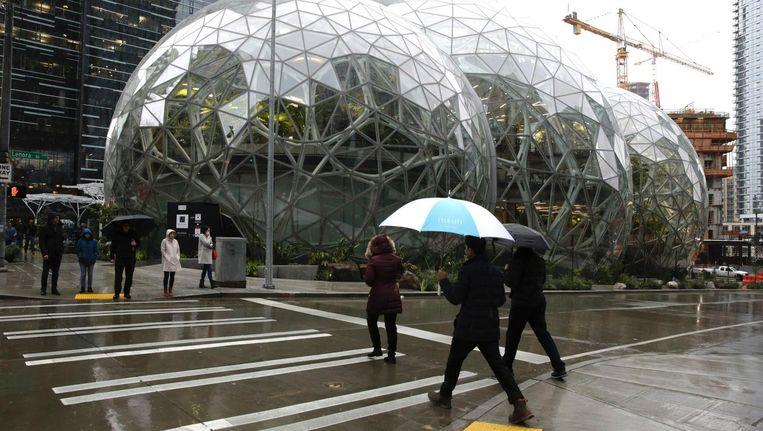 Het nieuwe kantoor van Amazon in Seattle. Beeld afp