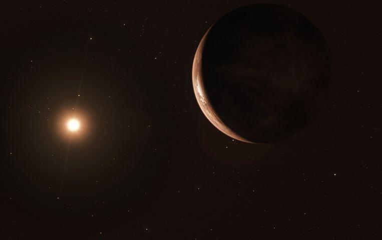 Zo zou de koude 'superaarde' Proxima c eruit kunnen zien. Beeld ESO/M. Kornmesser
