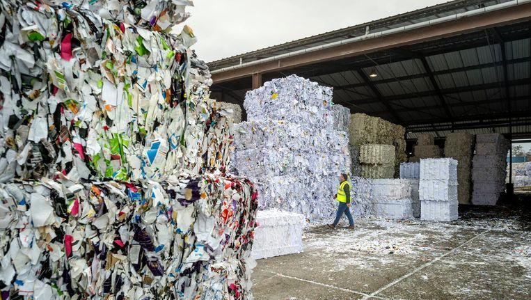 De papierverwerkingsfabriek Huhtamaki Paper Recycling in Marum, waar de oude bijbels de shredder in gingen. Beeld Duncan Wijting