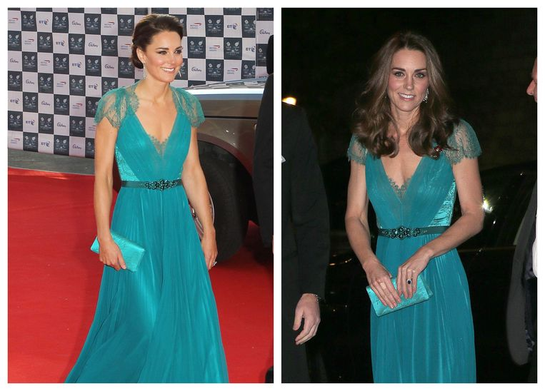 Kate Middleton in 2012 (links) en 2018 (rechts).