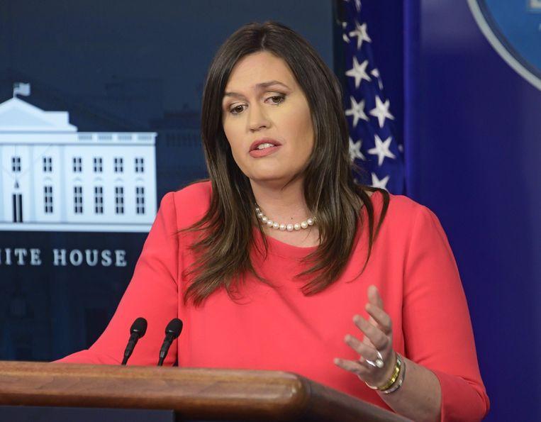 Sarah Huckabee Sanders is sinds 2017 perschef van het Witte Huis.