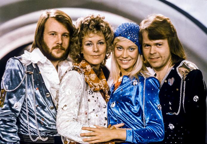 ABBA in 1974, toen de Zweedse groep het Eurovisie Songfestival won met 'Waterloo'.