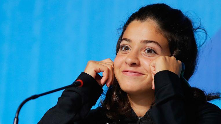 Yusra Mardini, die als lid van het vluchtelingenteam meedoet aan de Spelen. Beeld Getty Images