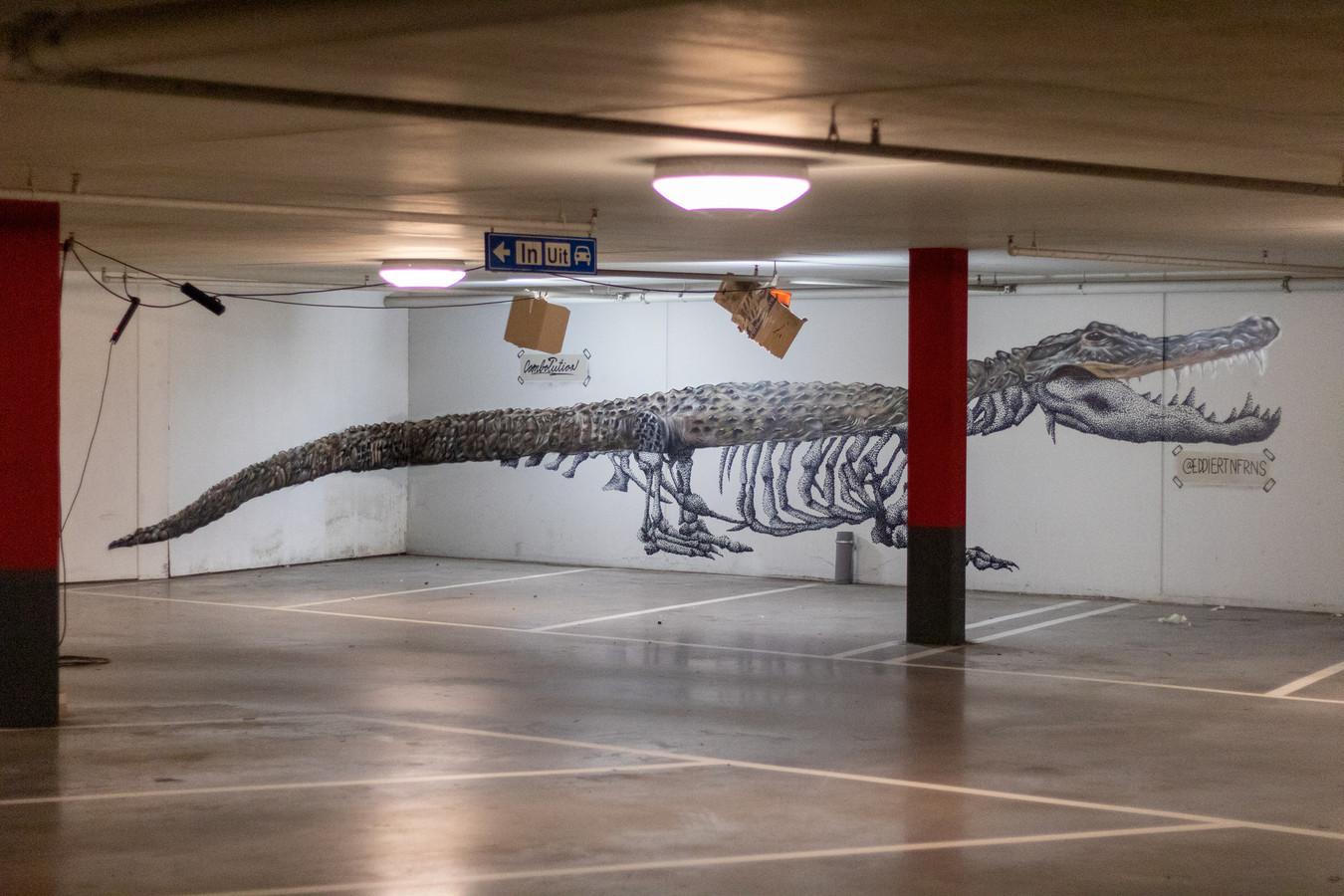 Een schildering van een krokodil