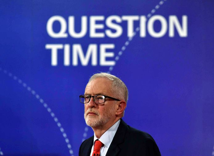 Labourleider Jeremy Corbyn tijdens het tv-programma Question Time van de BBC.