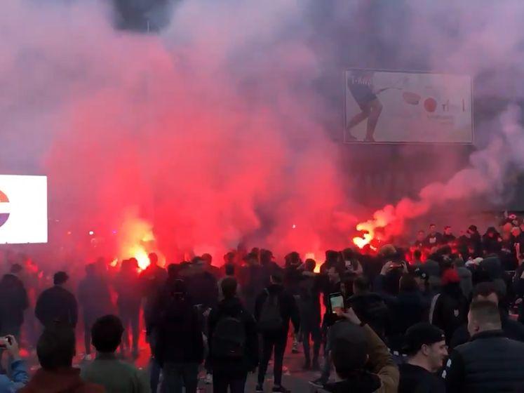 Van corona-maatregelen geen sprake bij fanzone Willem II, supporters vieren feest