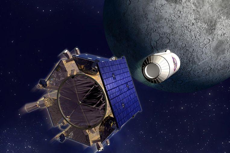 De LCROSS-sonde (voorgrond) schiet een lege Centaur-rakettrap af op een donkere krater nabij de zuidpool van de maan. (NASA) Beeld