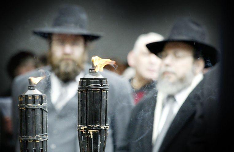 Herdenking van de Holocaust bij de Hollandsche Schouwburg in Amsterdam, 18 april 2004. Beeld ANP