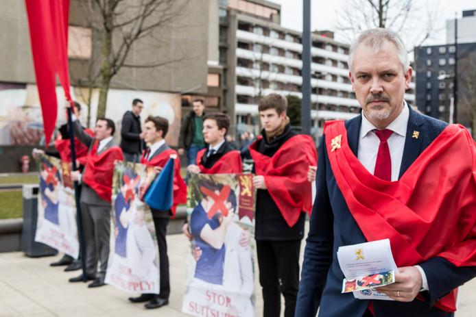 Hugo Bos, de manager van Civitas Christina, tijdens een demonstratie afgelopen jaar.