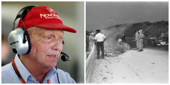 Links Niki Lauda, winnaar van de laatste GP van Nederland. Rechts een beeld van de dodelijke crash van Roger Williamson.