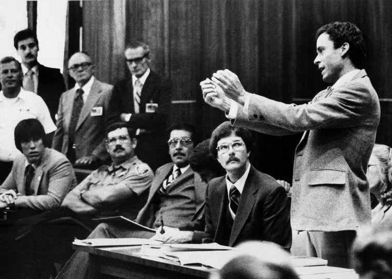 De beruchte moordenaar Ted Bundy tijdens zijn proces in 1979.