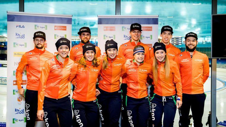 De Nederlandse Olympische shorttrackploeg. Beeld anp