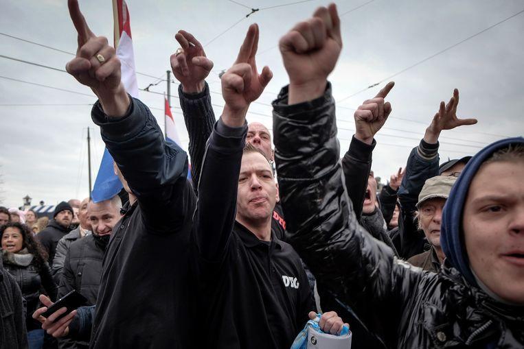 Pegida demonstreerde in februari 2016 bij de Stopera tegen de gevreesde islamisering. Beeld Bram Petraeus/HH