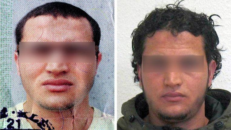 Foto's van Anis A. op het Duitse opsporingsbericht. Zijn gezicht is door onze redactie onherkenbaar gemaakt, omdat Trouw verdachten nooit herkenbaar in beeld brengt. Beeld BKA