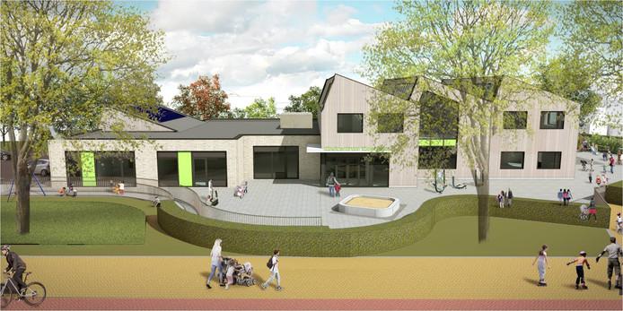 Impressie van het toekomstige schoolgebouw aan de Zomerweg in Kloetinge.