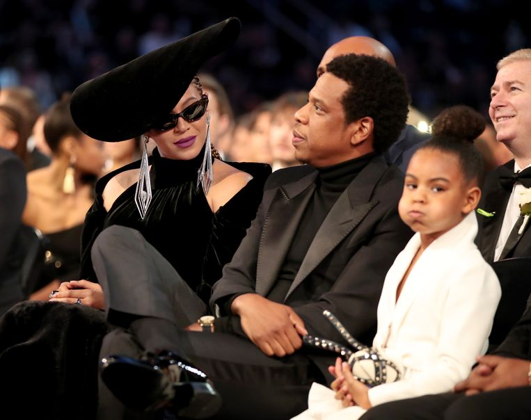 Beyoncé, Jay-Z en Blue Ivy Carter tijdens de Grammy Awards 2018 in New York City.